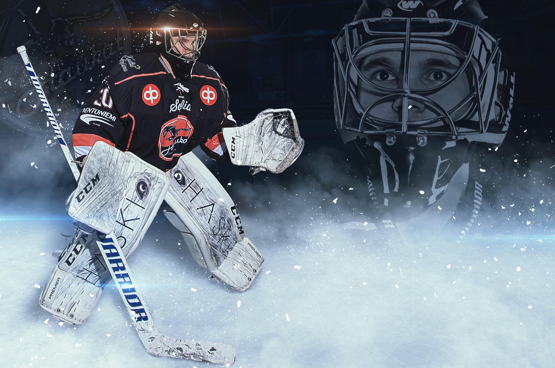 Maalivahti pelaajajuliste pelaajakuva urheilukuvat jääkiekko urheilumainonta