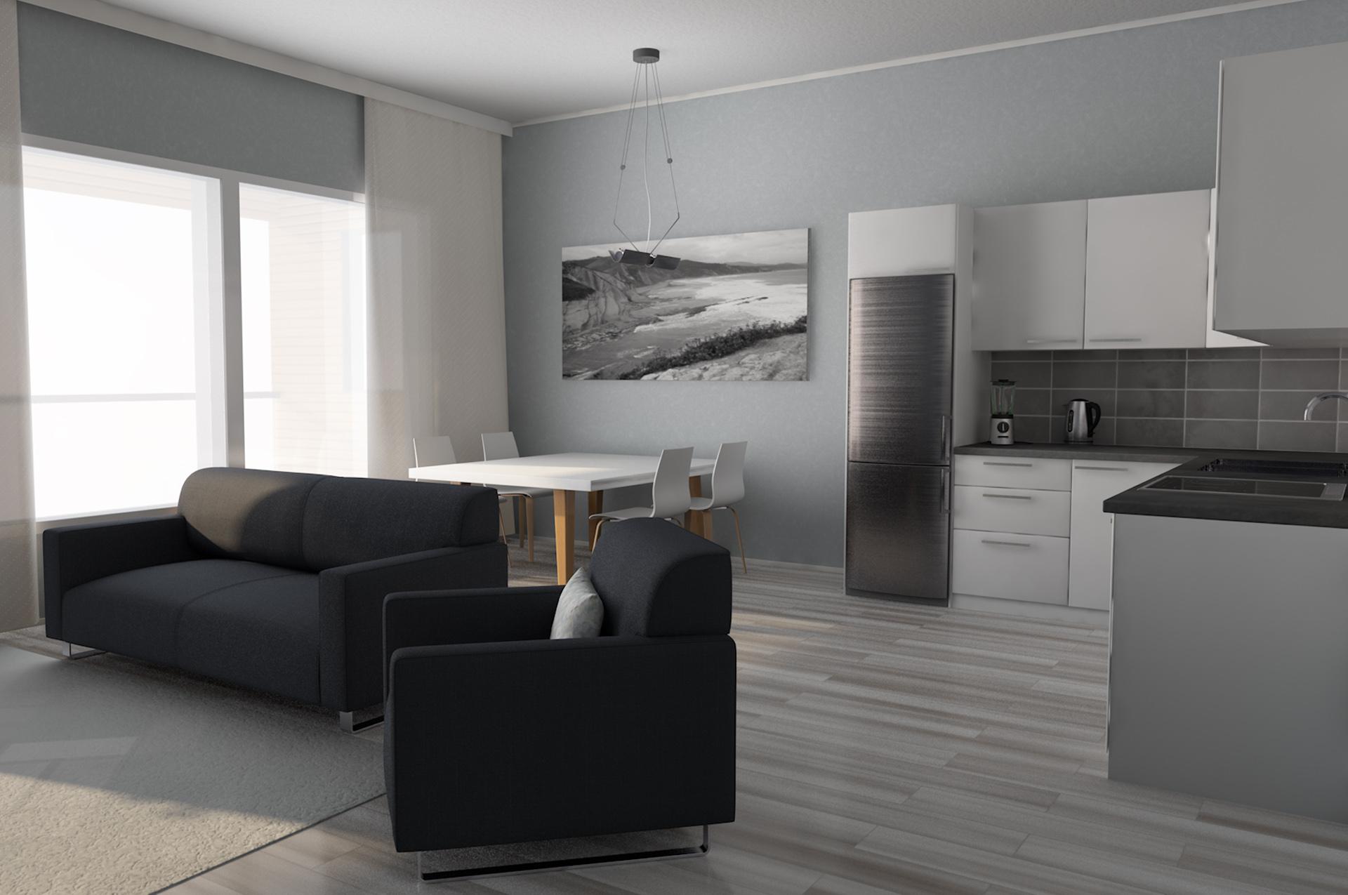 Visualisoitu olohuone ja keittiö